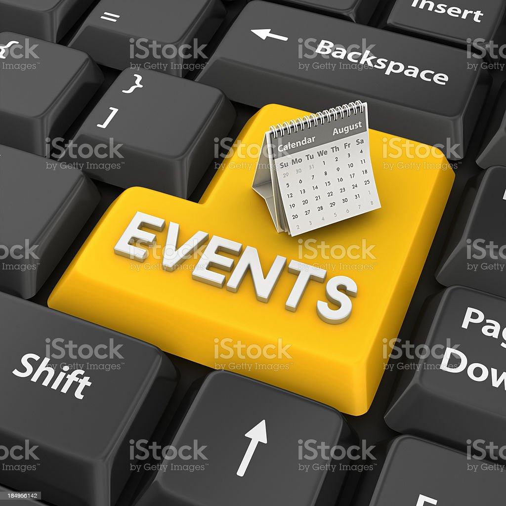 events enter key stock photo