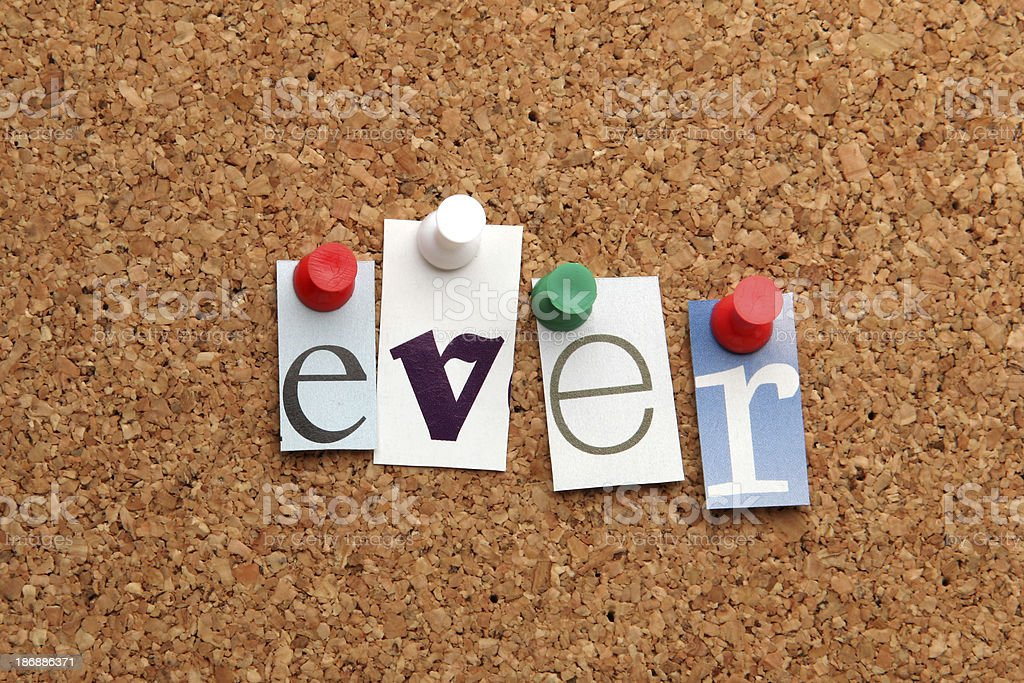 Ever pinned on noticeboard stock photo
