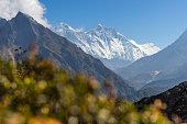 Everest and Lhotse mountain peak, Namche Bazaar, Nepal