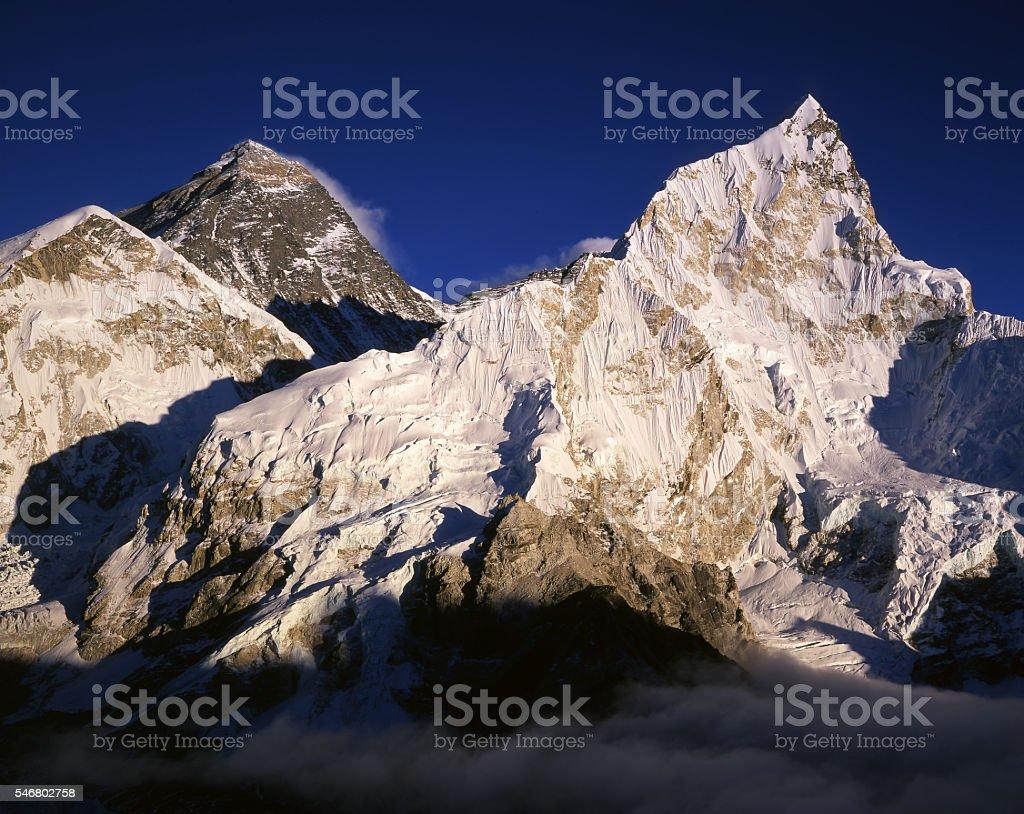Everest and Nuptse. stock photo