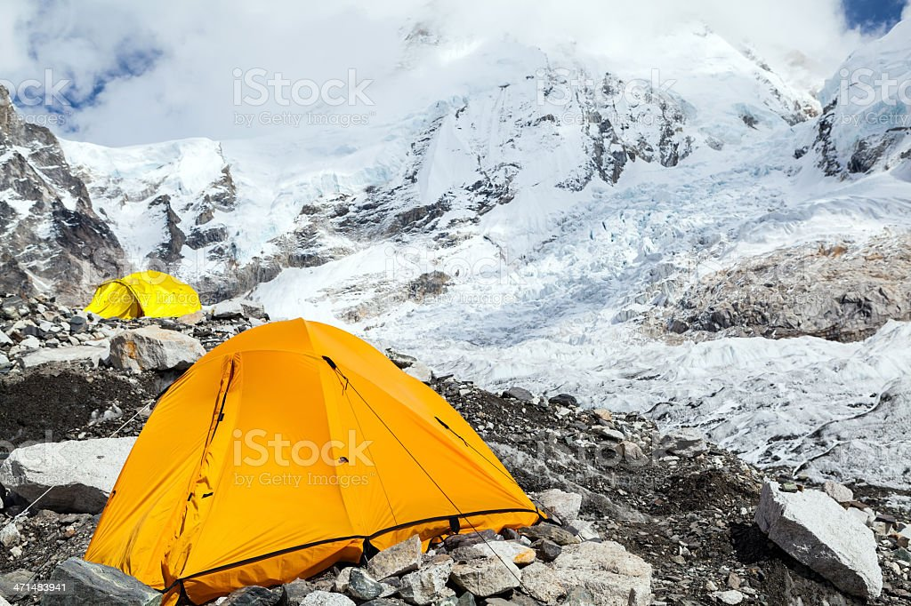 XXXL Everest Base Camp and tent in mountains stock photo