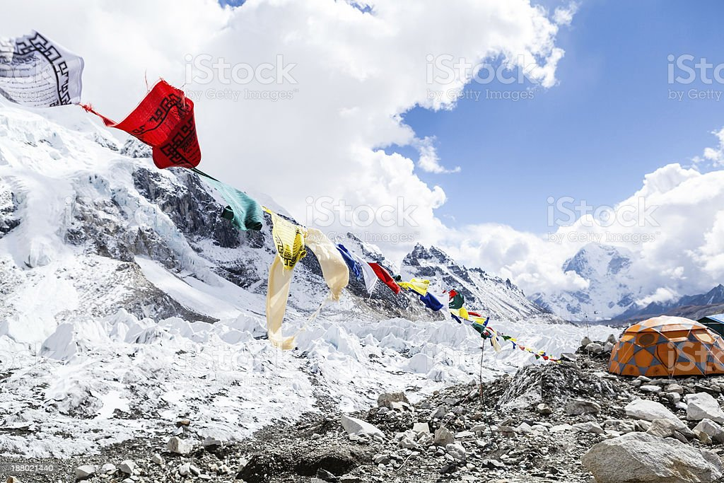 Everest Base Camp and tent stock photo