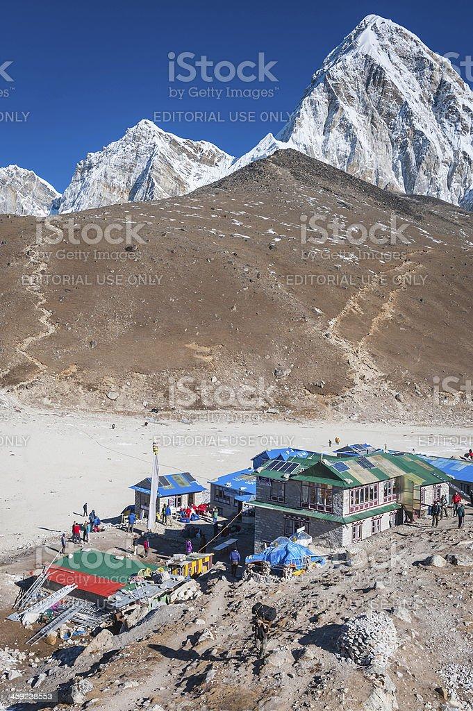 Everest Base Camp Gorak Shep Sherpa teahouses Kala Patar Himalayas royalty-free stock photo