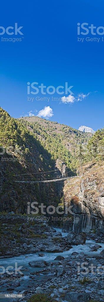 Everest Base Camp trail rope bridge ravine panorama Himalayas Nepal royalty-free stock photo