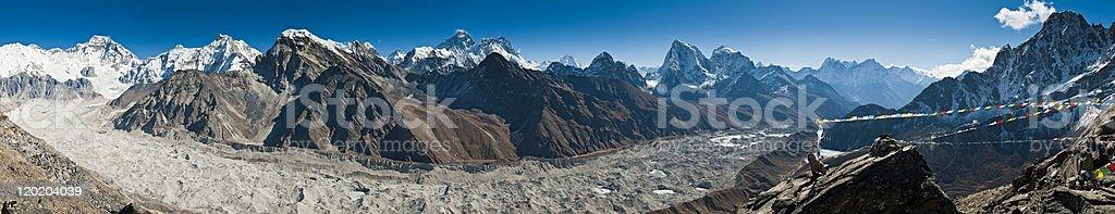 Everest glacier panorama Himalaya peaks Cho Oyu Gokyo mountains Nepal royalty-free stock photo