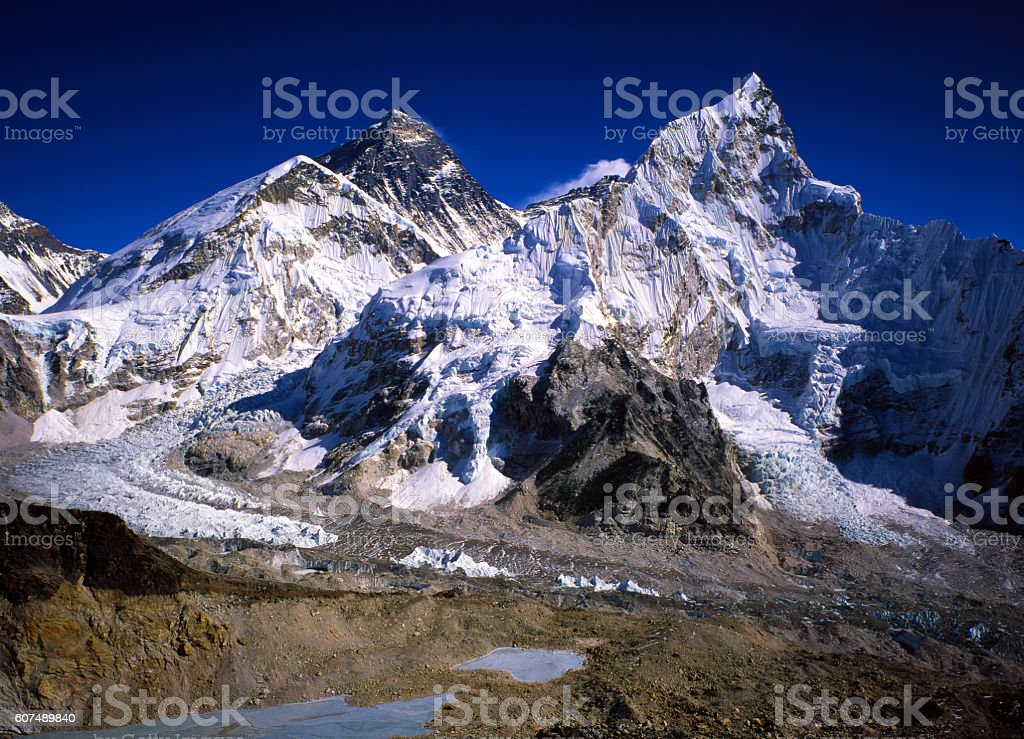 Everest, Nuptse and Lhotse from Ralapatar. stock photo