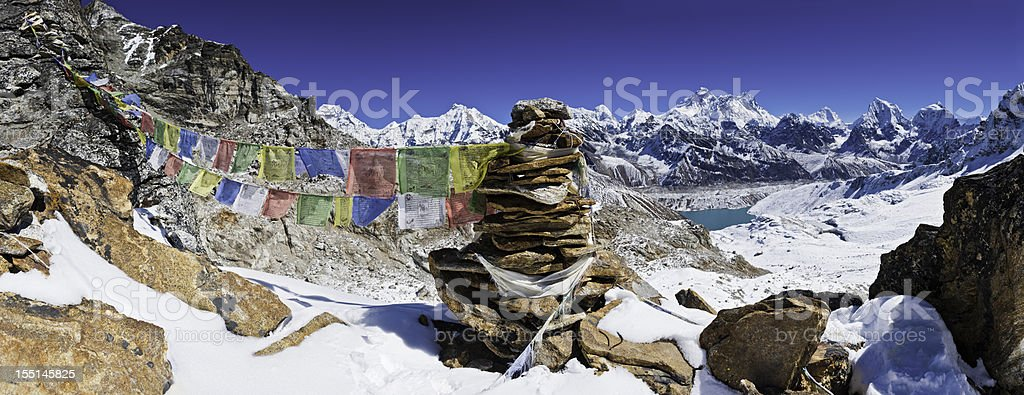 Everest prayer flags cairn snow mountain peaks panorama Himalayas Nepal royalty-free stock photo