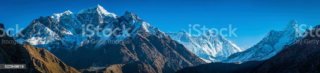 Everest range mountain peaks panorama Sherpa villages in Himalayas Nepal stock photo