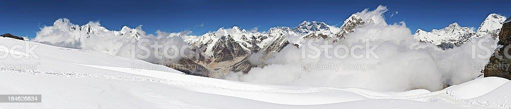 Everest snow capped Himalaya summits panorama Nepal royalty-free stock photo
