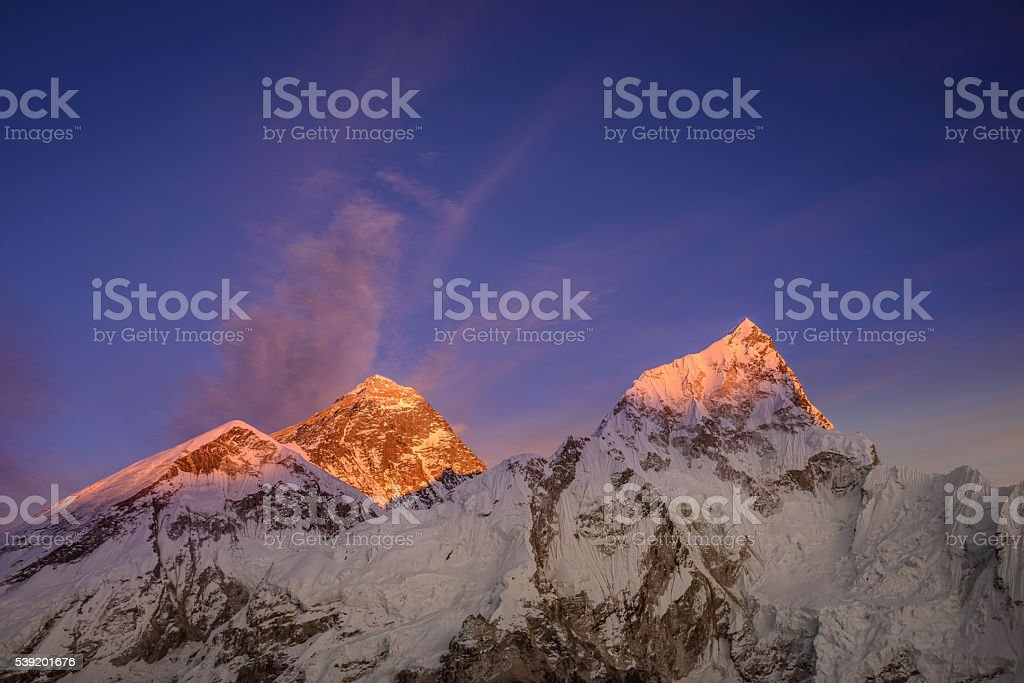Everest turning red stock photo