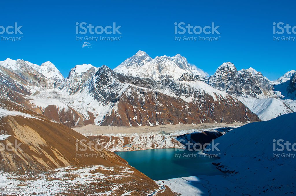 Everest view from Renjo la pass stock photo