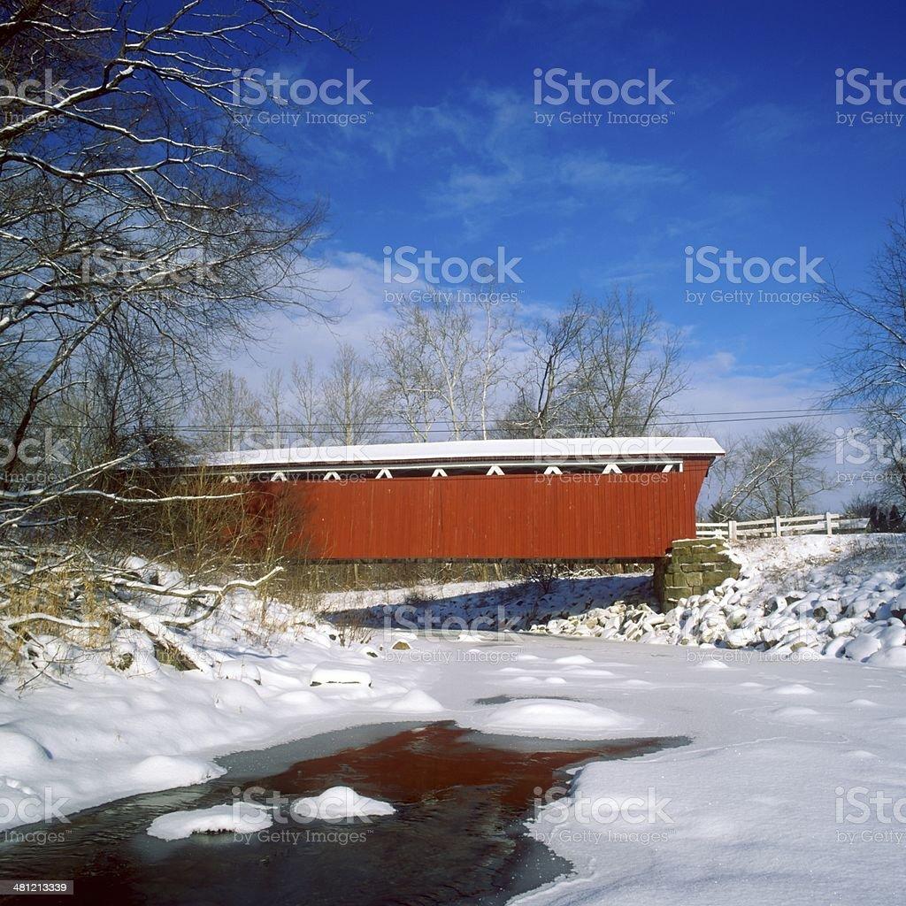 Everett Road Covered Bridge in Ohio in Winter stock photo
