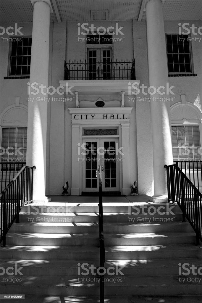 Everglades city hall building entrance. stock photo