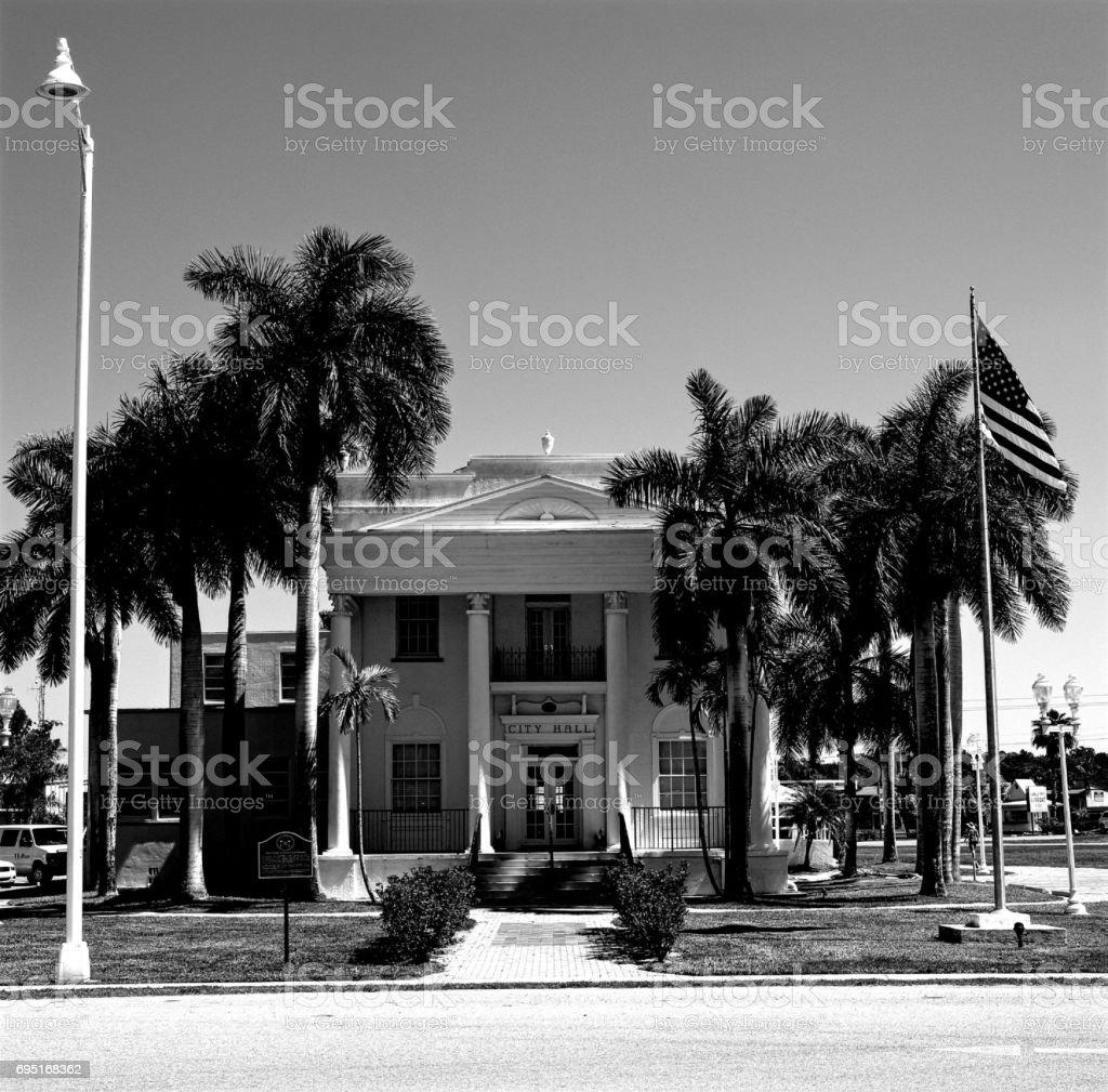 Everglades city hall building. stock photo
