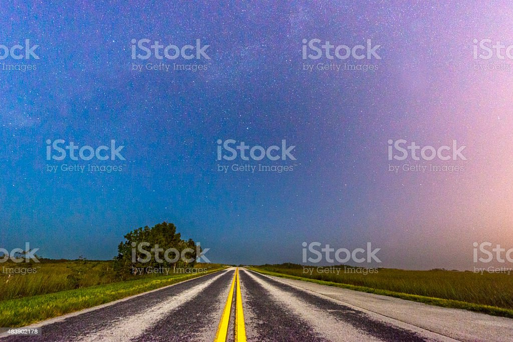 Everglades National Park Night Road with Starry Summer Sky Florida stock photo