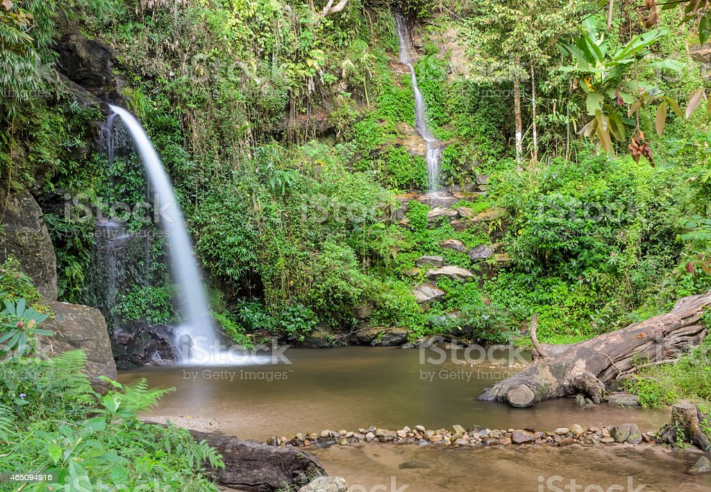 Evergreen forest waterfall in Chiang Mai, Thailand stock photo