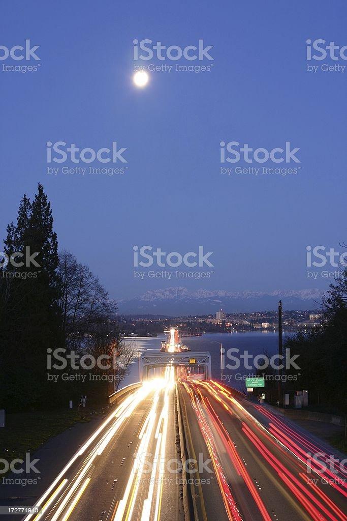 Evergreen Point Floating Bridge - Full Moon royalty-free stock photo
