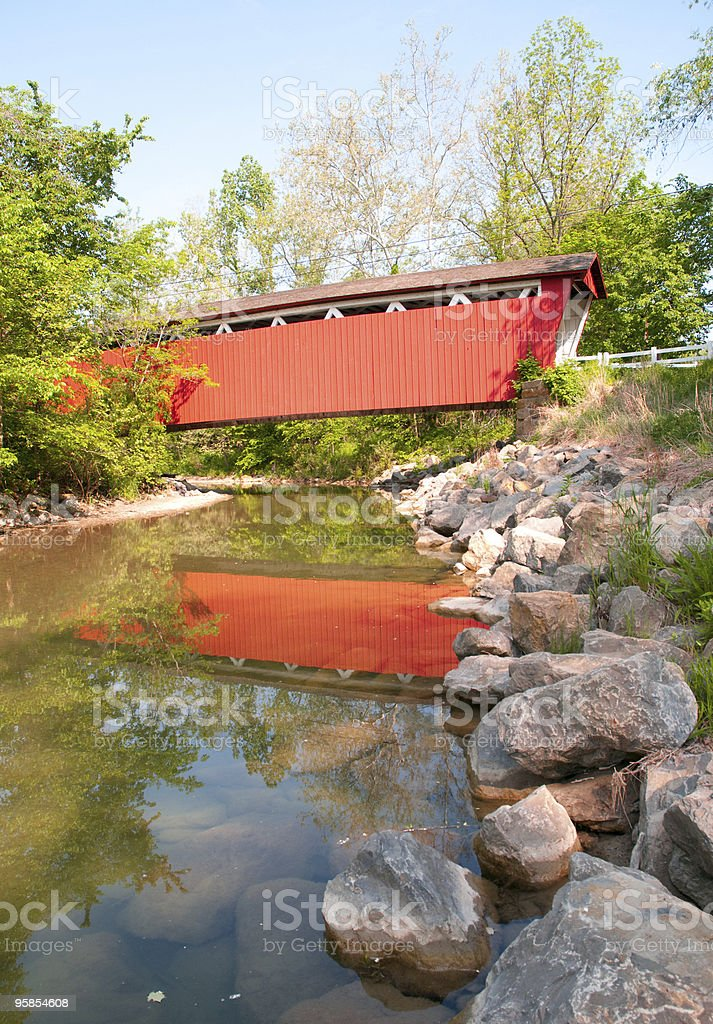 Everitt Road Red Covered Bridge stock photo