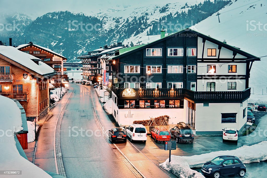 Everning in Zurs ski resort stock photo