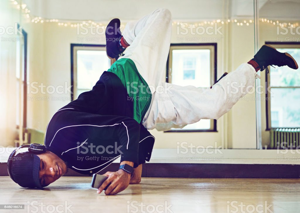 Every bboy needs a playlist of dope beats stock photo