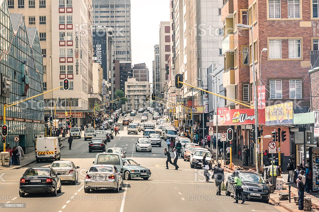 Every day life on the streets of Johannesburg stock photo