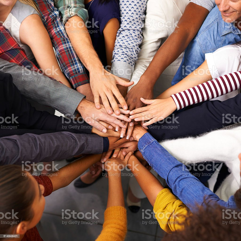 Every effort to keep the unity in spirit stock photo