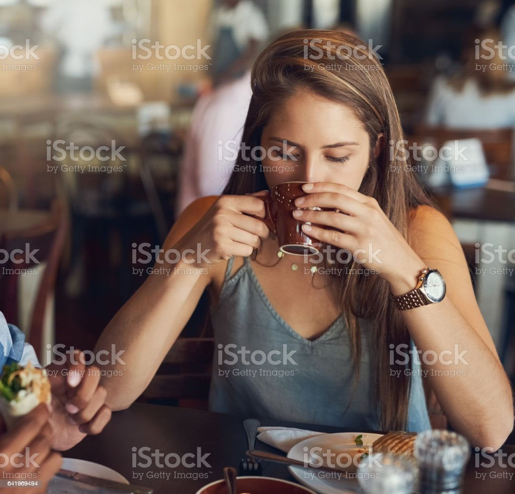 Every sip is a gentle delight stock photo