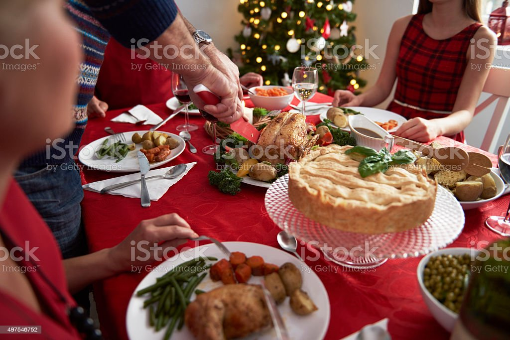 Every year tradition during the Christmas Eve stock photo