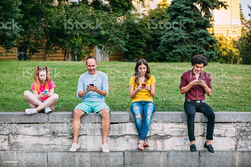 Everybody is texting stock photo