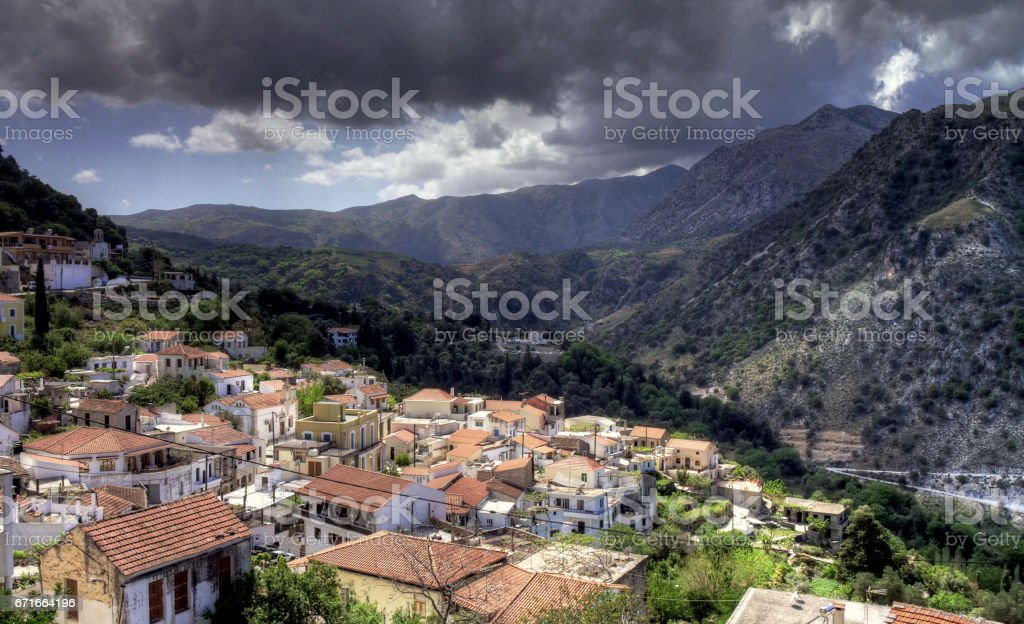 Everyday life at the island Crete in Greece stock photo
