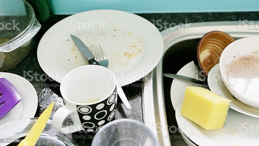 Everyday life, chores, dirty dishes, housework, necessary,washing up stock photo