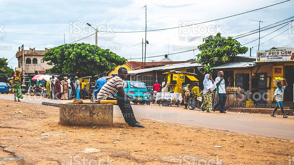 Everyday life in african town. Djougou, Benin, West Africa. stock photo