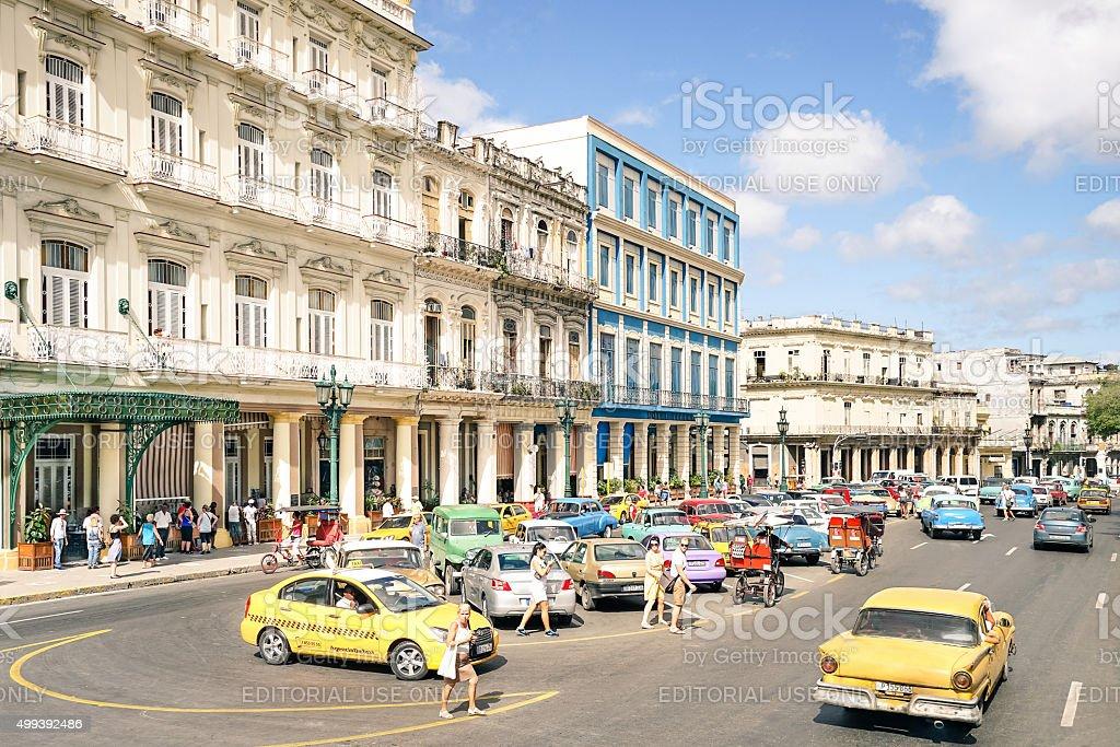Everyday life on Prado street in Havana Cuba stock photo