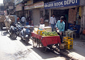 Everyday life scene of street in New Delhi