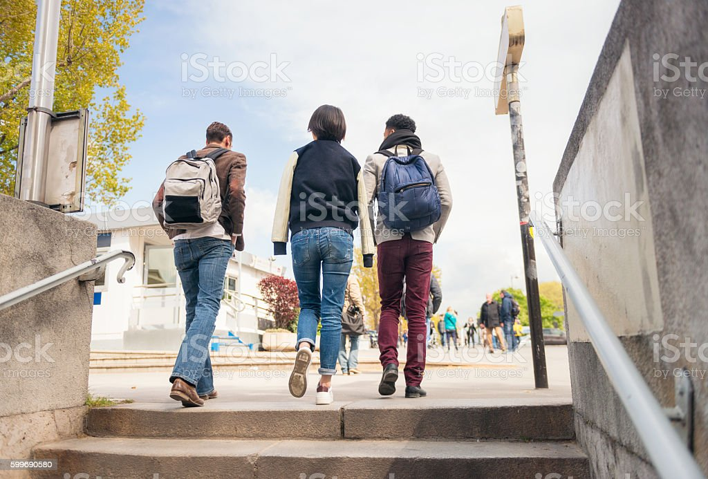 Everyday lifestyle - three friends in Paris stock photo