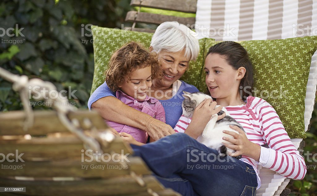 Everyone loves a visit with Grandma stock photo