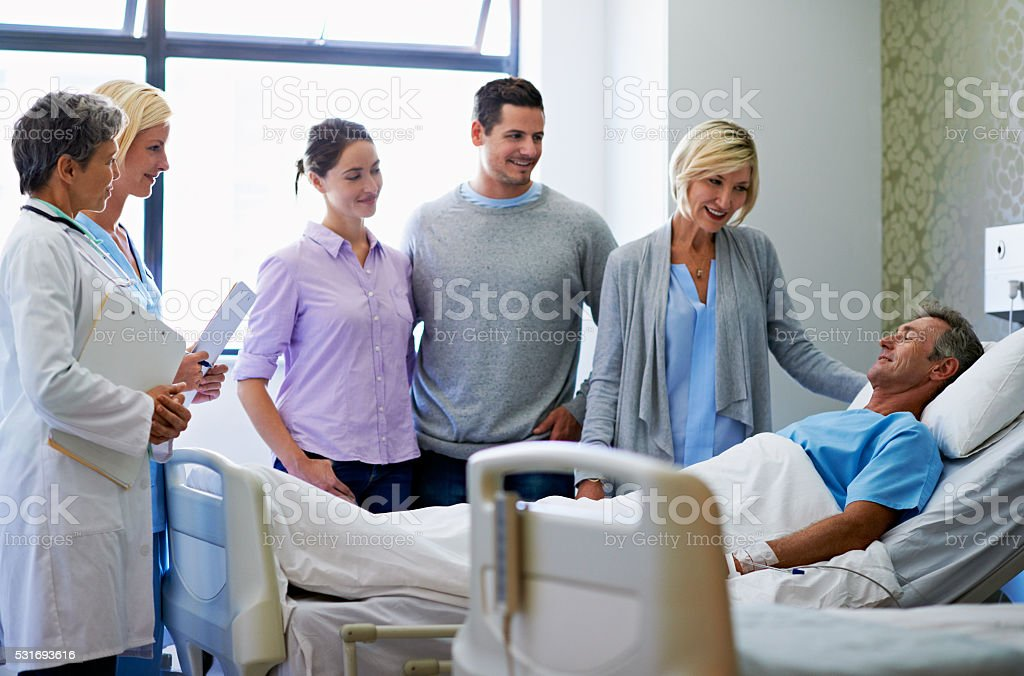 Everyone's relieved he's on the mend stock photo