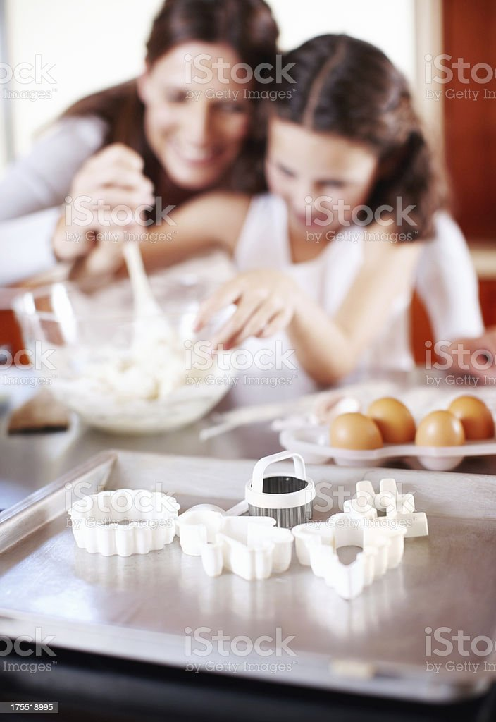 Everything a mother and daughter need for baking stock photo