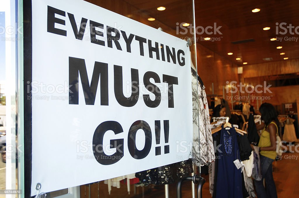 Everything Must Go Sign on Trendy Shop Melrose Avenue royalty-free stock photo