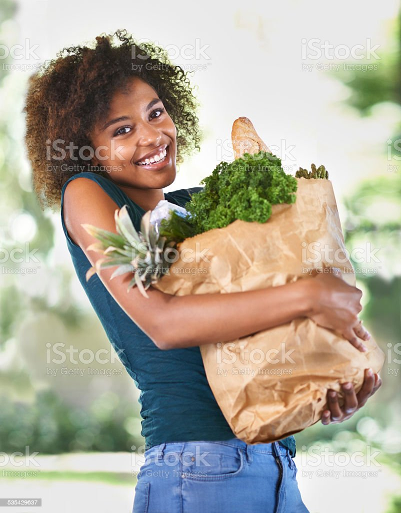 Everything she needs for her new eating plan stock photo