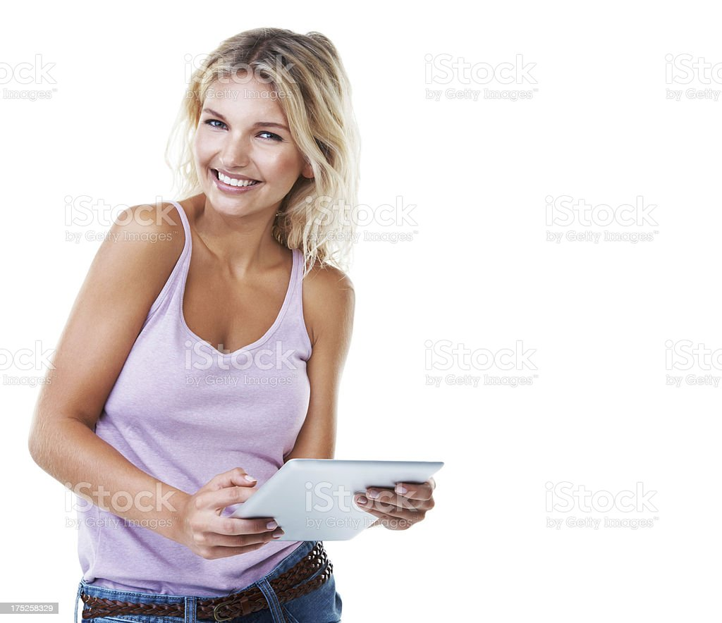 Everything she needs in her hands - Tablet technology royalty-free stock photo