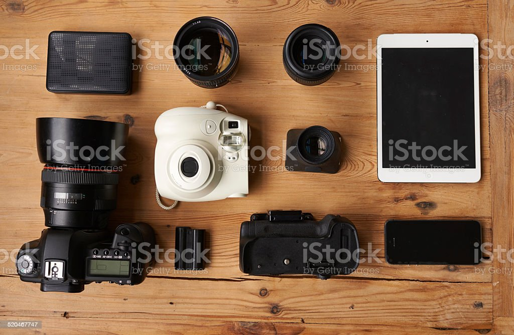 Everything you need to be a photographer stock photo