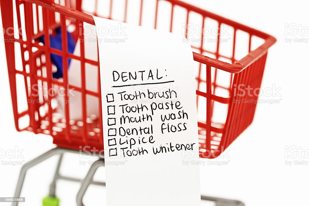 Everything your mouth needs for dental hygiene on shopping list royalty-free stock photo