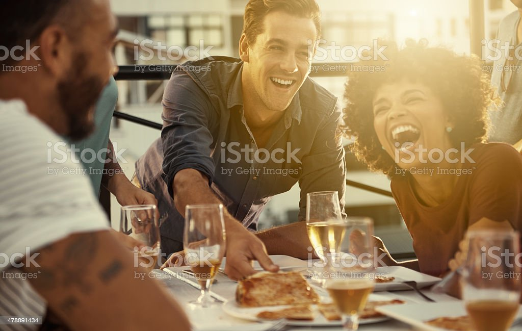 Everything's funnier when you're with your best friends stock photo