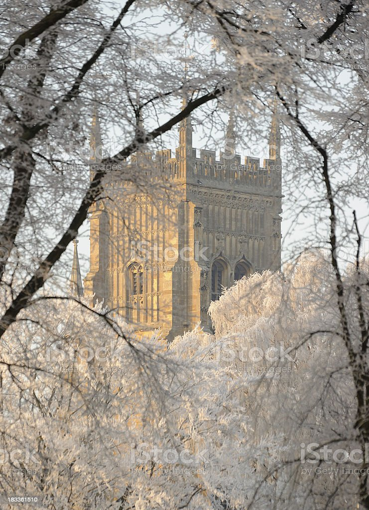 Evesham Bell Tower through Frosted Trees royalty-free stock photo