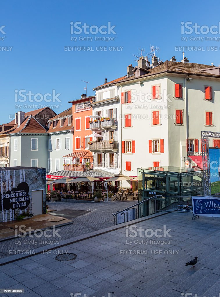 Evian-les-Bains, France. Building facades in the old town stock photo
