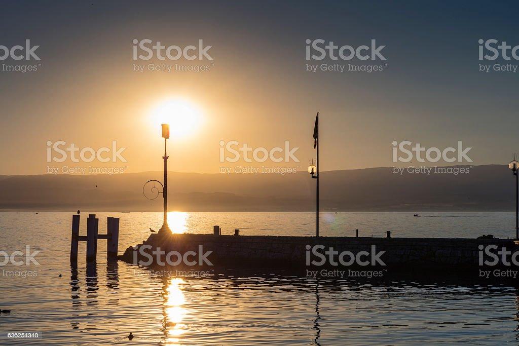 Evian-les-Bains, France. On the lake shore, at sunset stock photo