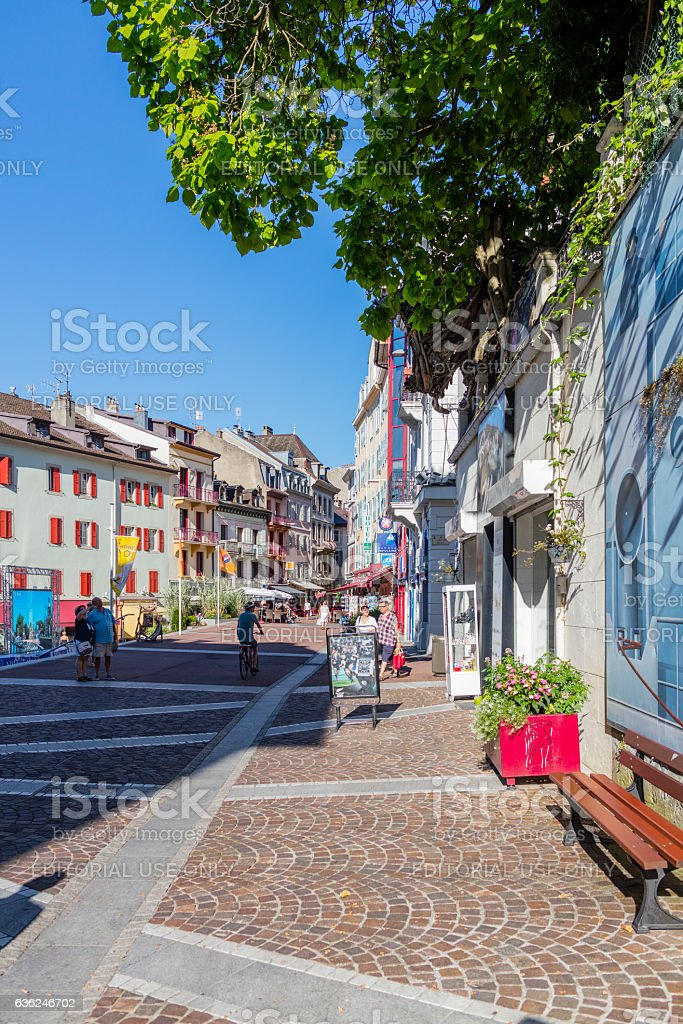 Evian-les-Bains, France. Street view with tourists and a bicycle stock photo