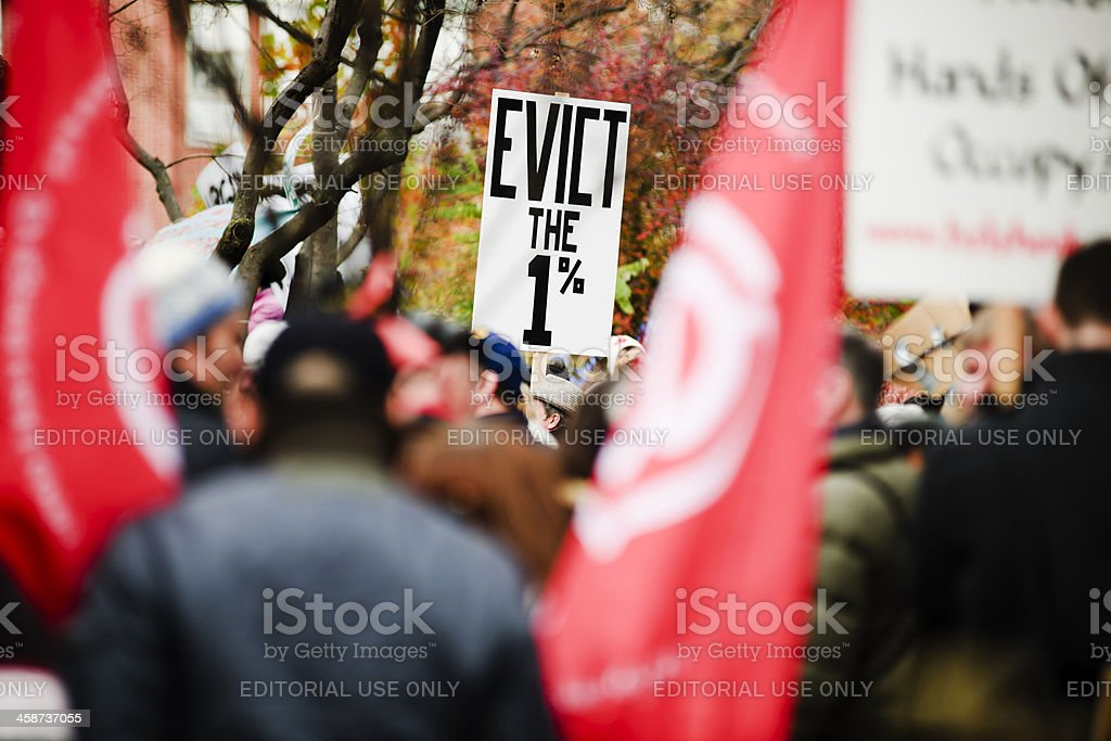 Evict the 1 Percent, Occupy Wall Street Movement royalty-free stock photo