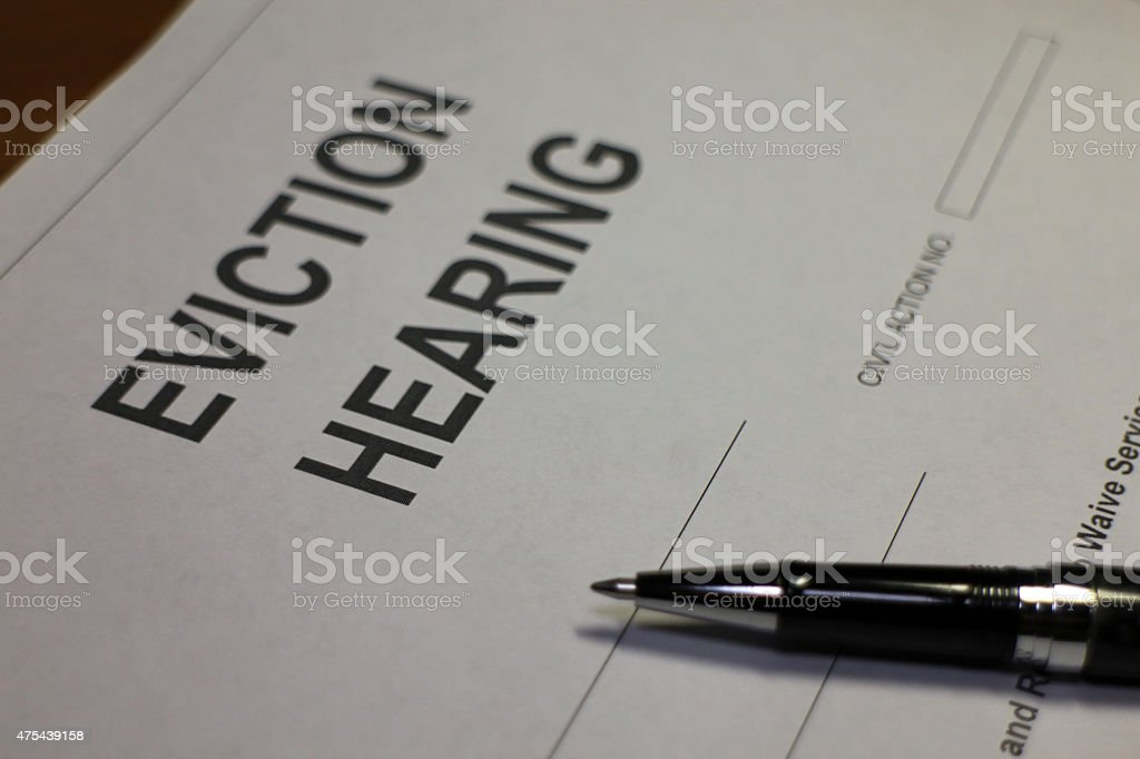 Eviction Hearing Document stock photo
